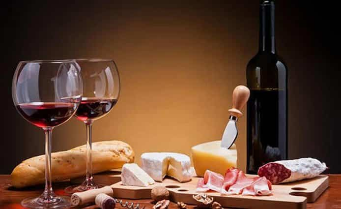 Red Wine Bottle, Cheese and Wine Glasses