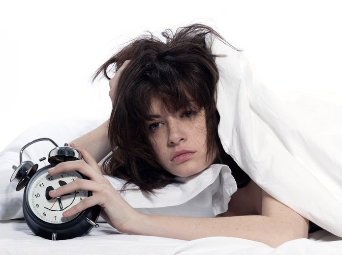 Woman in Sleepless Night The Next Day Drunkenness